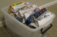 You probably have a bin like this in your closet